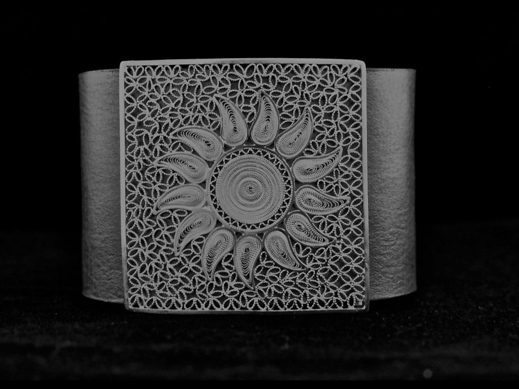 """""""Alexandria"""" by Olmox Jewelry, glamorous unique leather bracelet, beautiful flower in filigree, crafted by hand, available at www.olmox.com"""