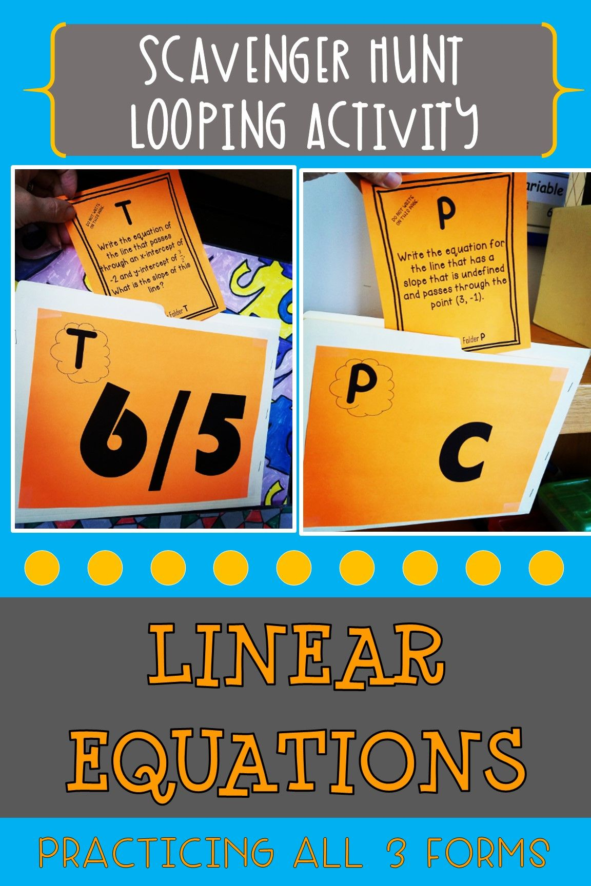 Linear Equations Scavenger Hunt Looping Activity