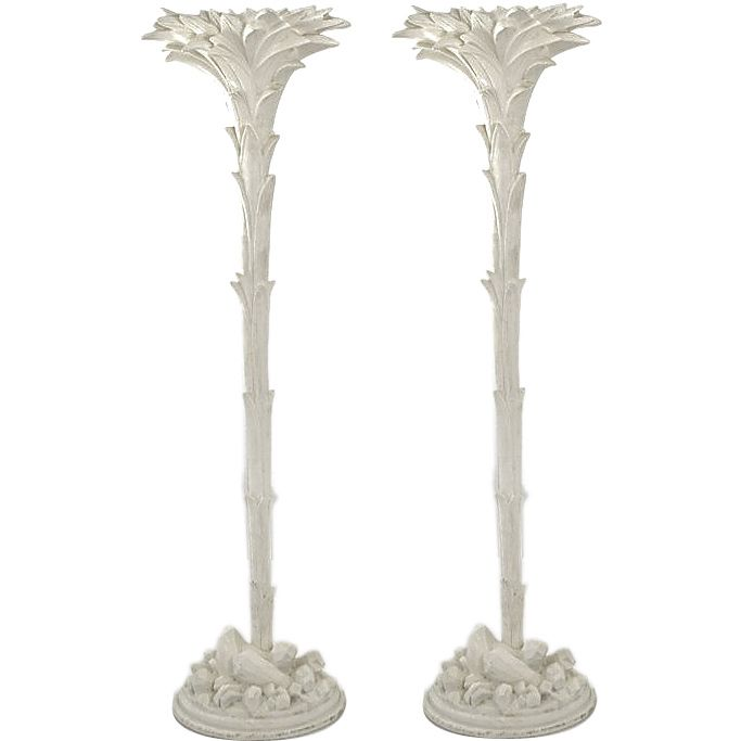 Pair Of Serge Roche Style Palm Tree Floor Lamps By Sirmos