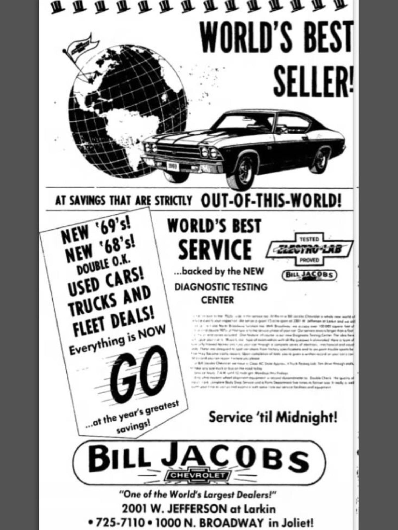1969 Bill Jacobs Chevrolet Dealership Joliet Illinois