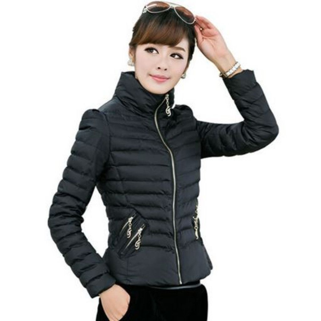 Simple cute zippered winter coat winter winter fashion and closure