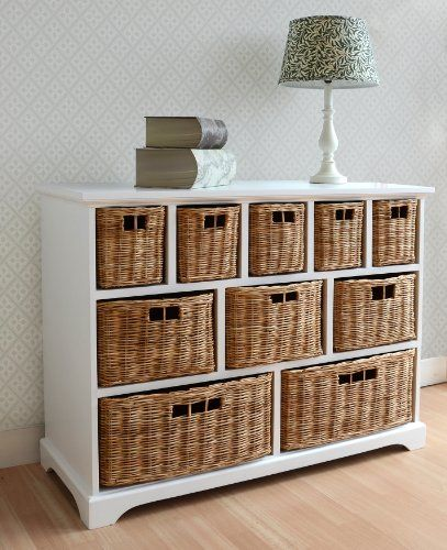 Large White Chest Of Drawers Wicker Storage Unit With Baskets Kitchenbathroom