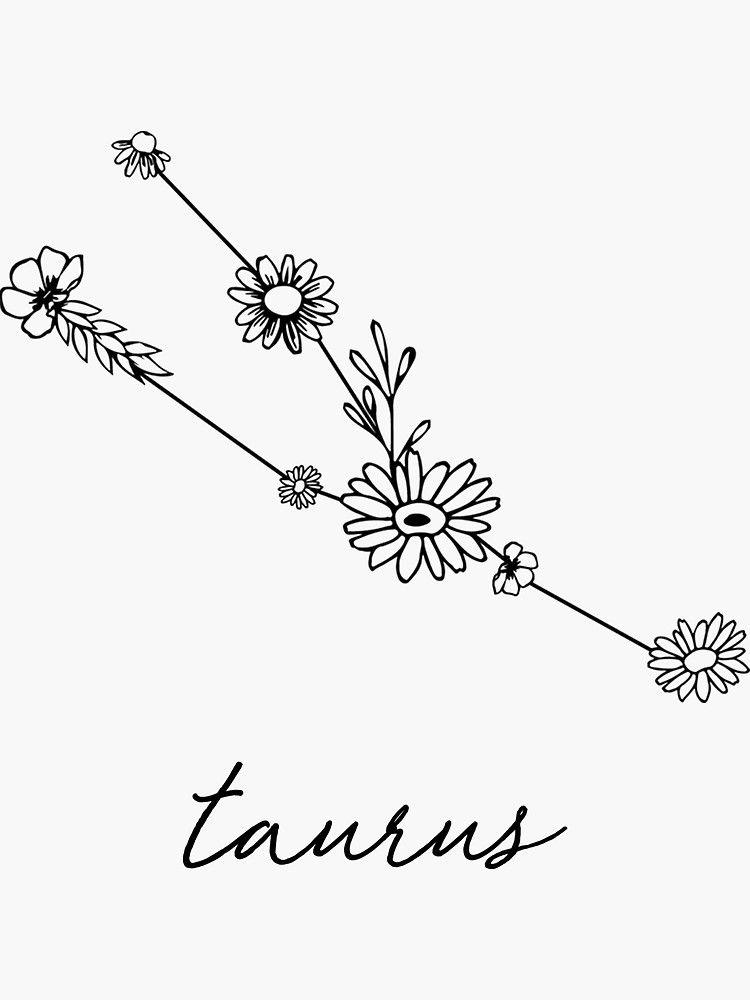 Photo of 'Taurus Zodiac Wildflower Constellation' Sticker by aterkaderk