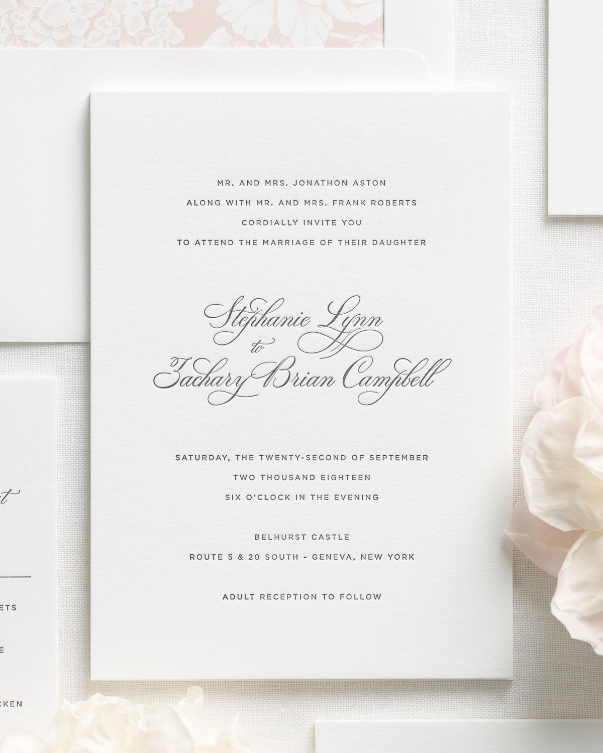 Engraved Wedding Invitations with Classic and Simple Script | Boda ...