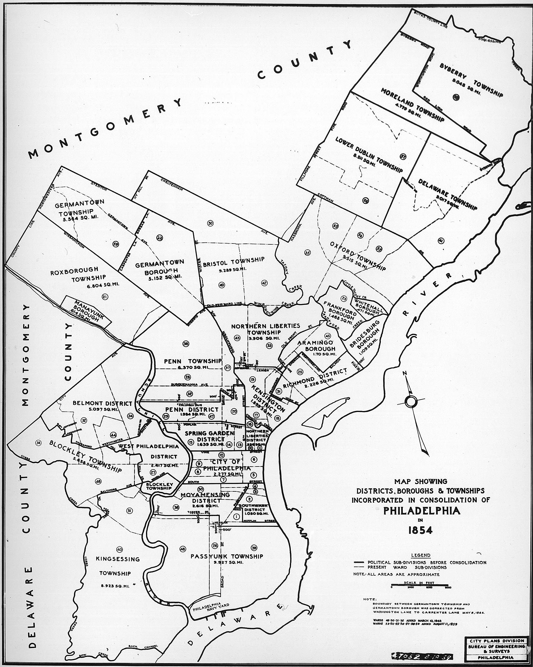 Philadelphia Township Map 1854 Map of Districts, Boroughs, & Townships incorporated in