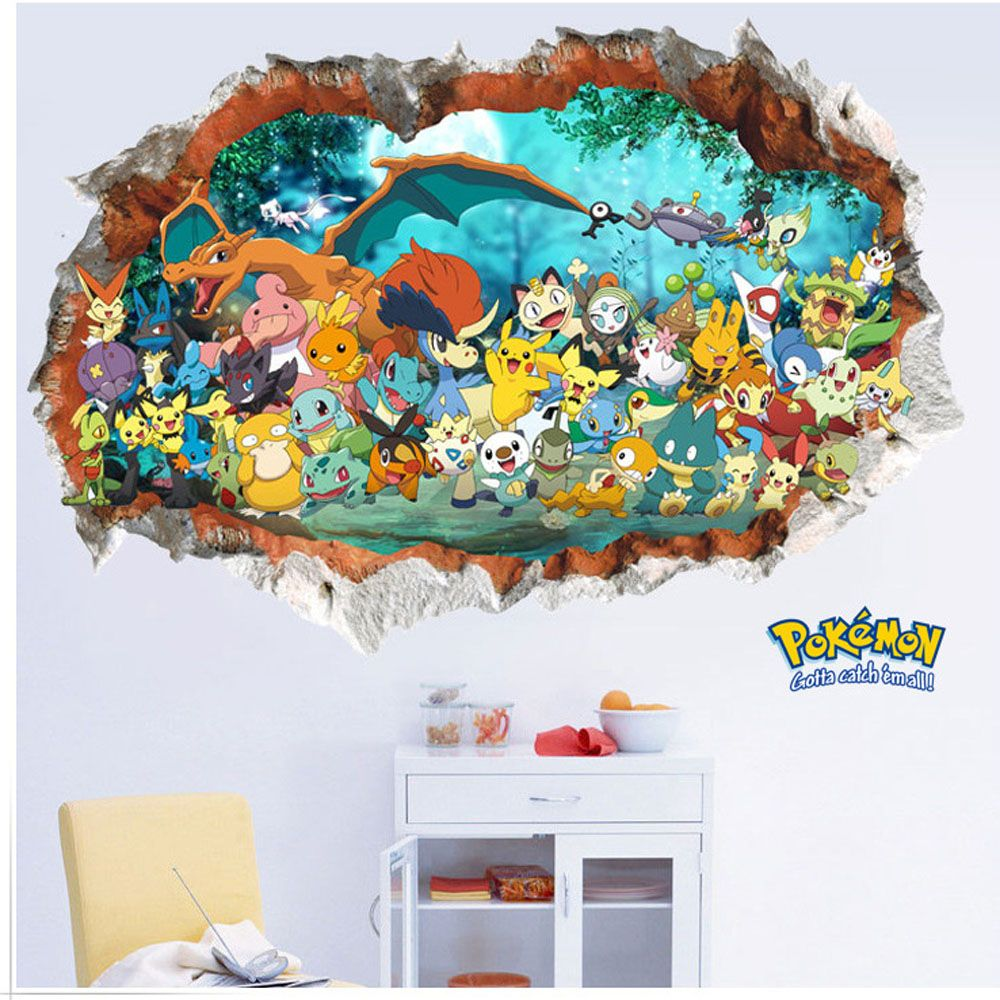 creative removable 3d pokemon wall stickers for kids rooms