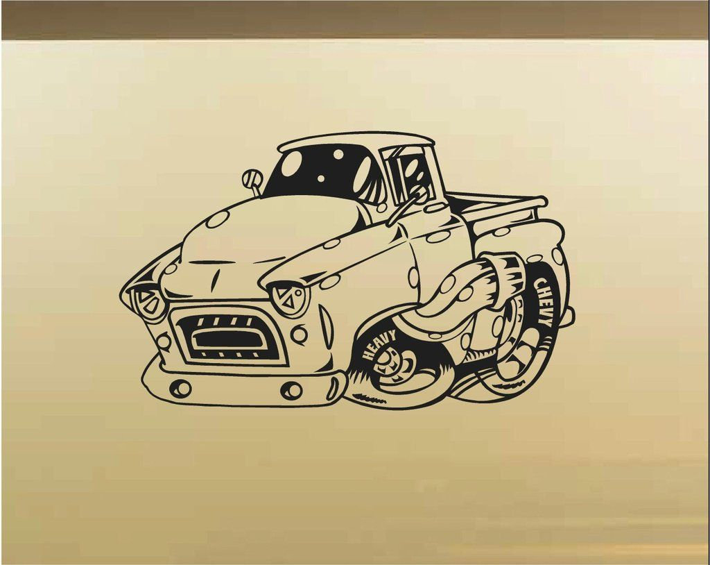 Chevy Pick Up Truck Car Wall Decal - Auto Wall Mural - Vinyl ...