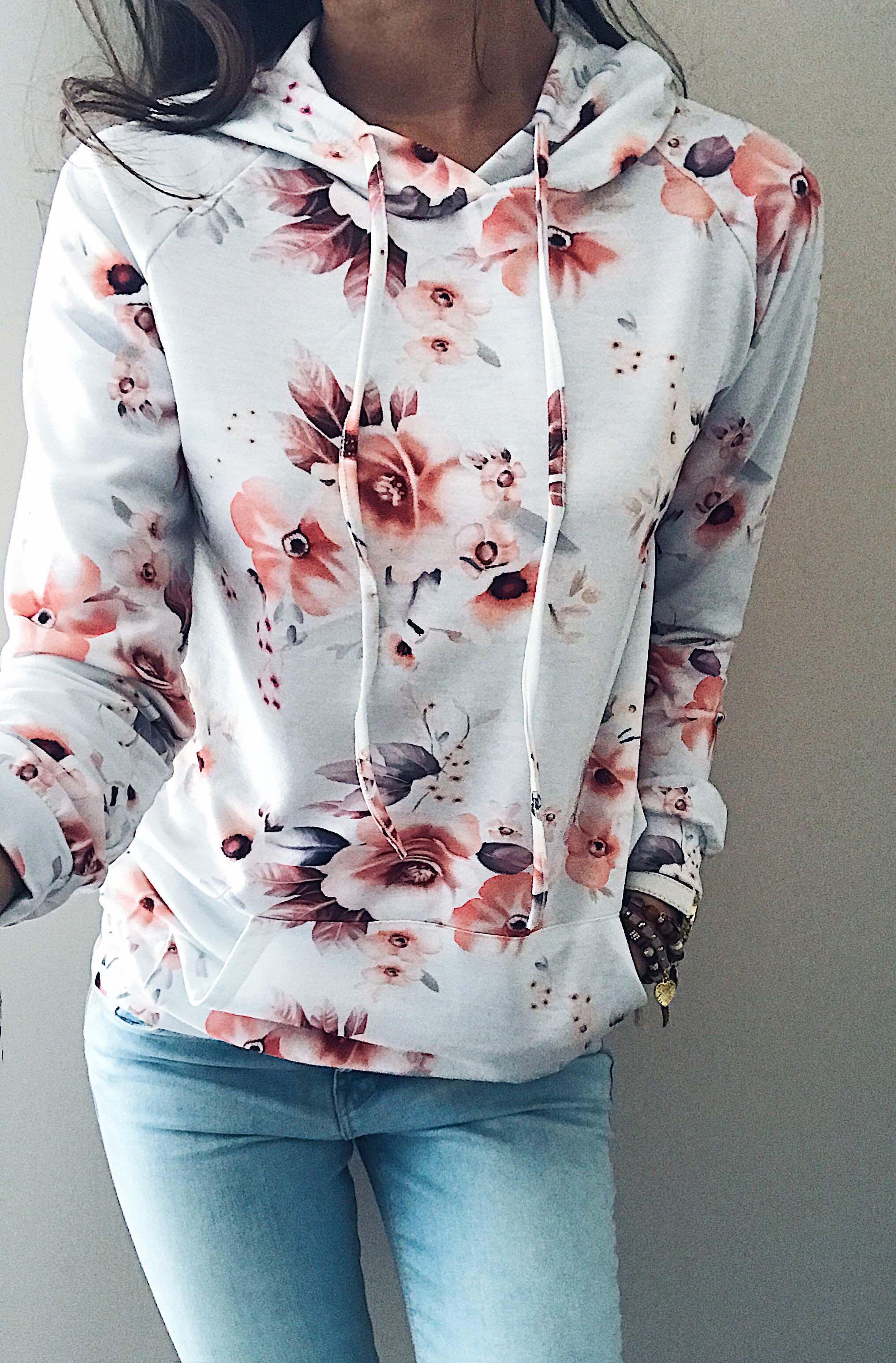 Chicnico Casual Floral Print Hoodie Long Sleeve Top. Women Fashion Casual Womens ...