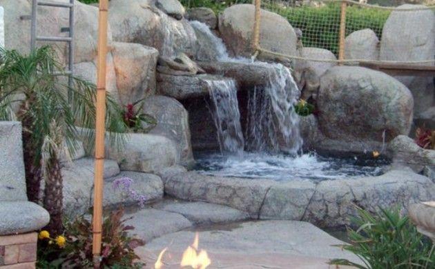 wasserfall im garten feuerstelle steine pflanzen gardenprojects