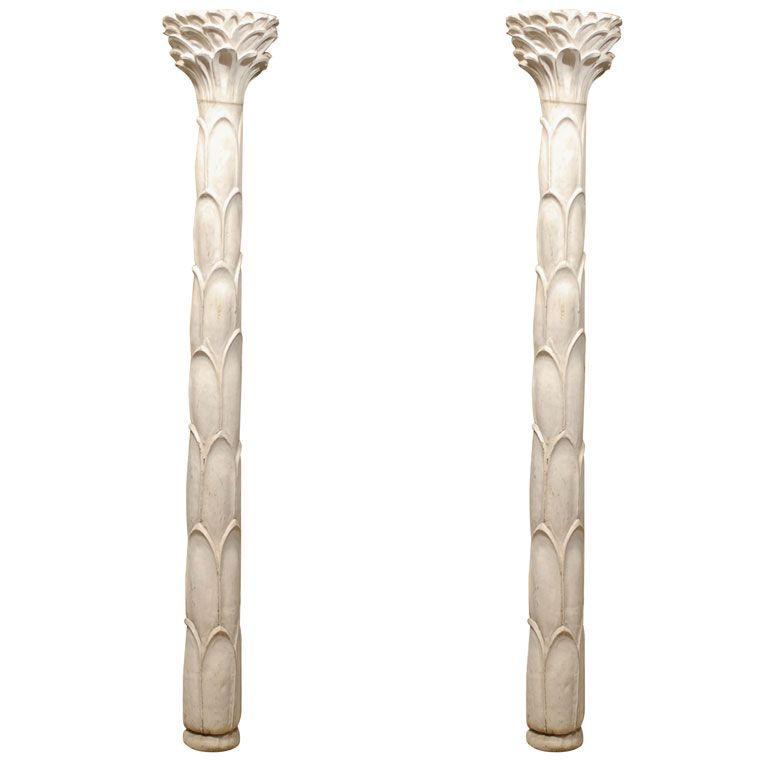 PAIR OF MID CENTURY WHITE PLASTER PALM TREE PILASTER