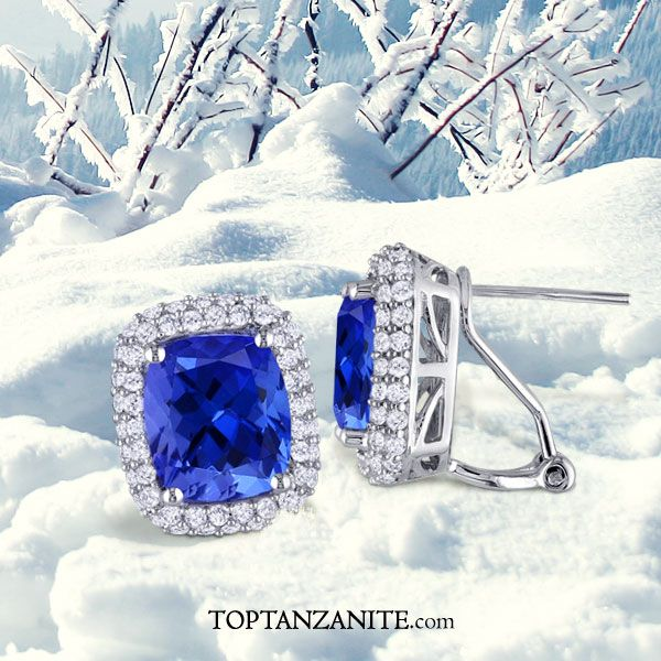 71d4d3d2ea4d3f .90ctw Cushion Tanzanite Earring With .32ctw Diamonds in 14K White Gold .