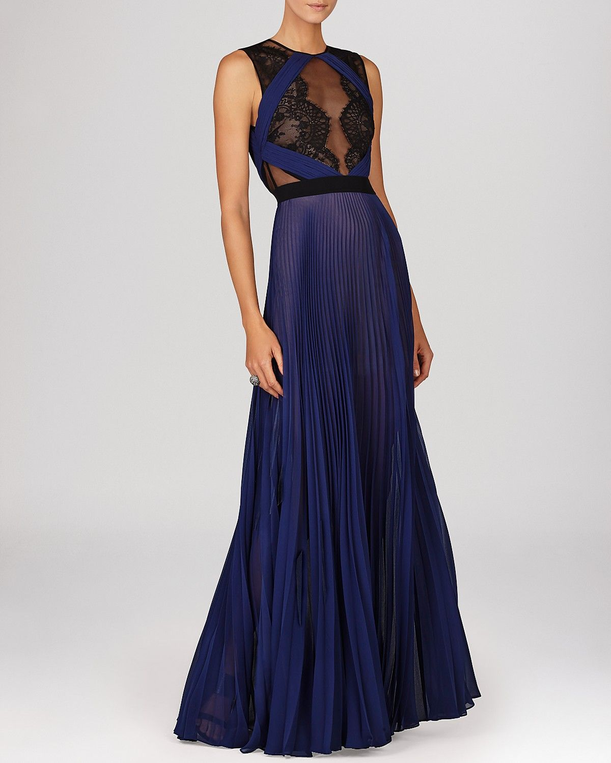 BCBGMAXAZRIA Gown - Lace Bodice & Pleated Skirt | Bloomingdale\'s ...
