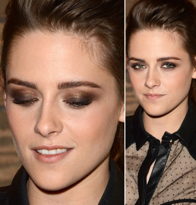 Bronze shimmery eyeshador in the crease, a matte darker brown blended in the outer corner and a blended black eyeliner in the uper lash line- Kristen stewart makeup