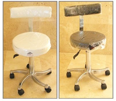 Therapist stools with back rest and hydraulic lift. Available in white or black
