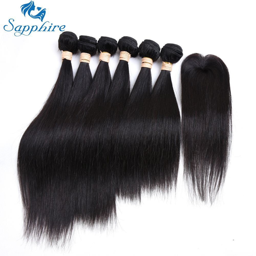 Sapphire Straight Remy Human Hair 6 Bundles With Lace Closure 1b