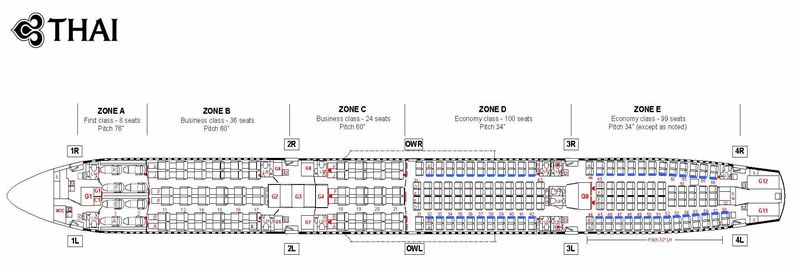 Thai Airways Airlines Airbus A340 600 Aircraft Seating Chart