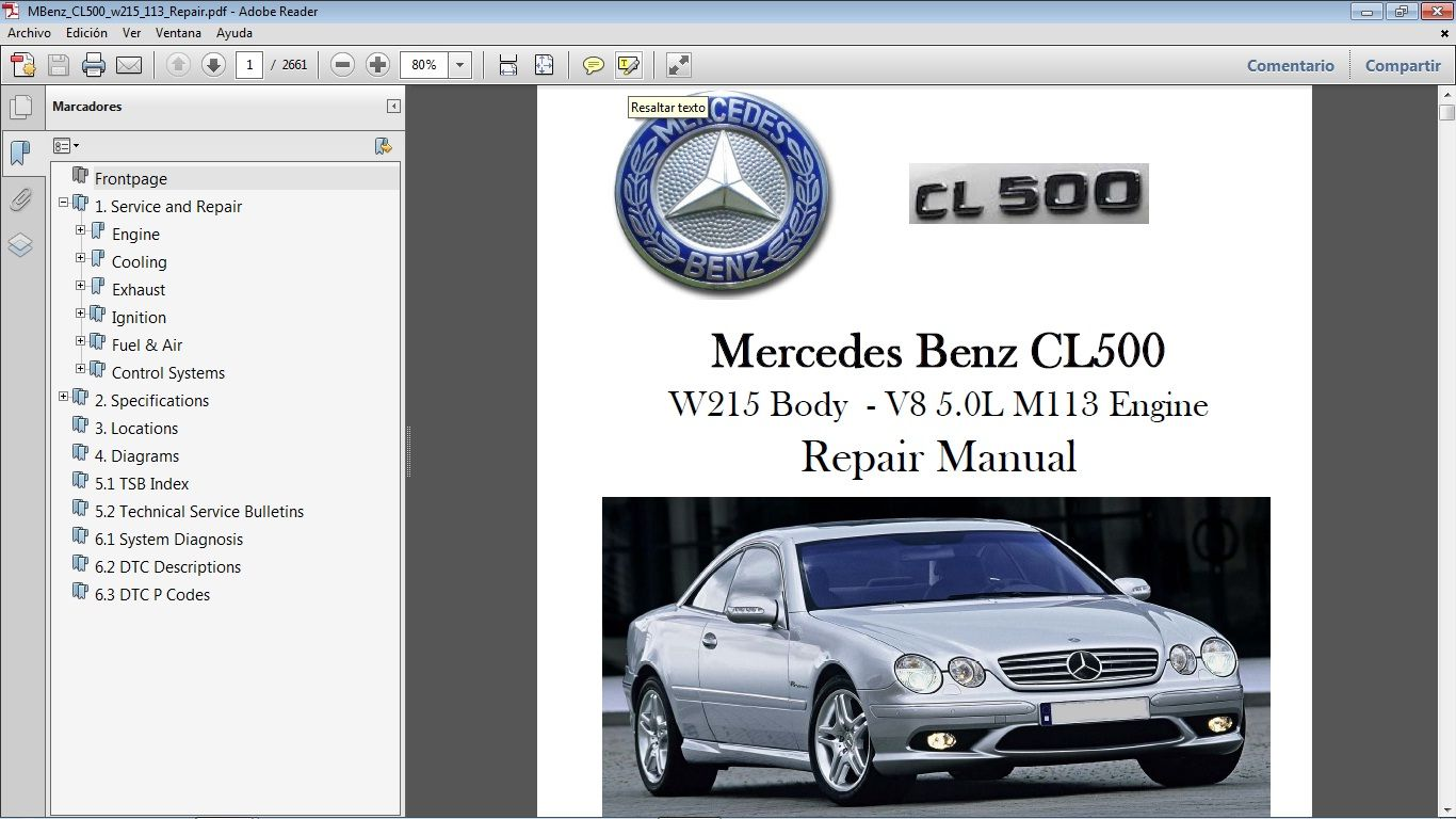 Mercedes Benz Cl500 W215 Workshop Repair Manual Manual De Taller Mercedes Cl500 Mercedes Mercedes Benz