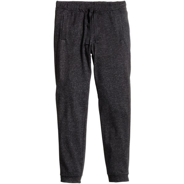 H&M Sweatpants (£20) ❤ liked on Polyvore featuring activewear, activewear pants, bottoms, black marl, h&m sweatpants, sweat pants, cotton sweat pants, marled sweatpants and drawstring sweatpants