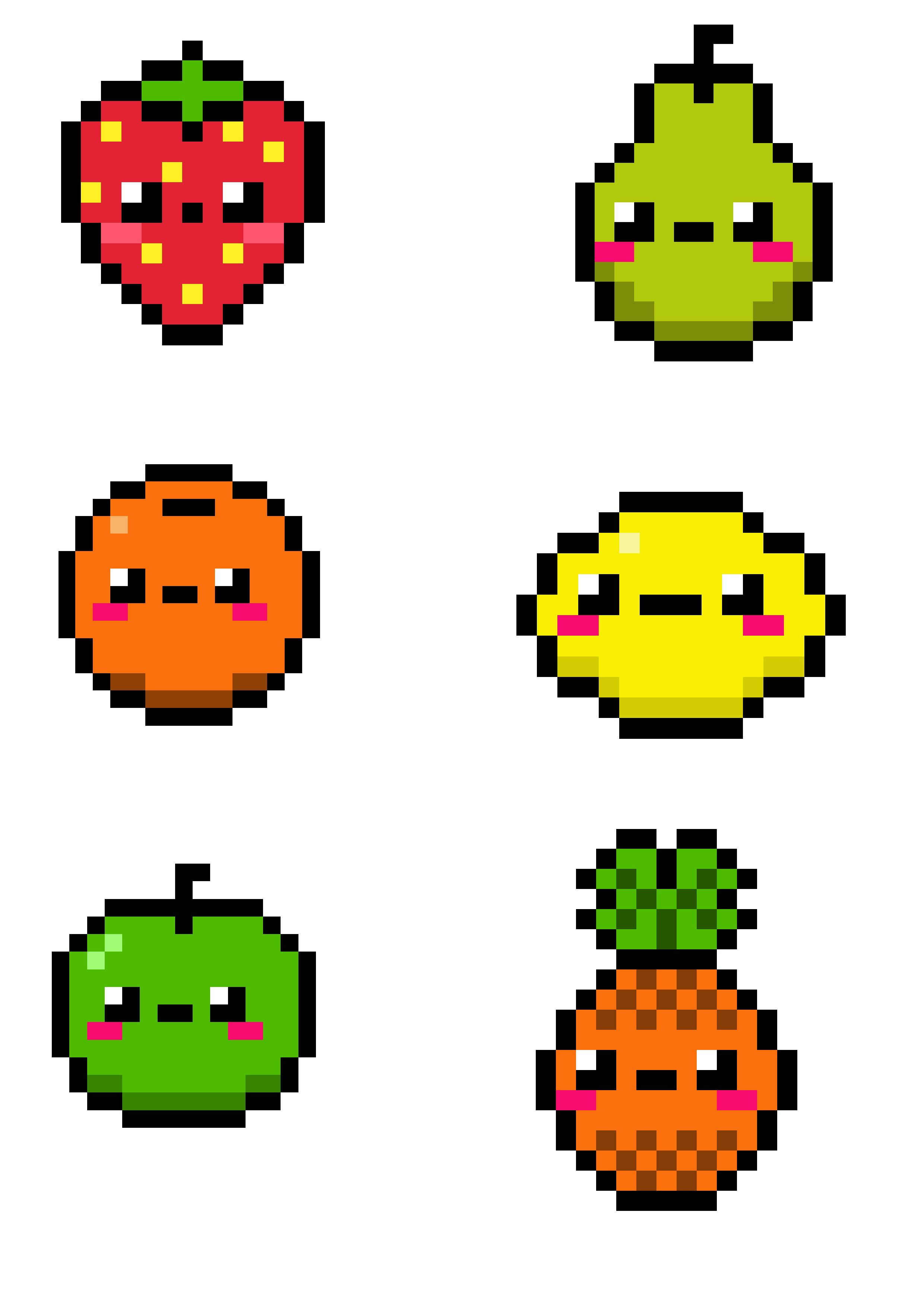 pixel art fruits pixel art graph