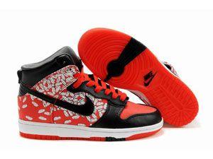 huge selection of c7da0 16192 Vente en gros chaussures Nike Dunk haute meilleure femme maigre plumes noir  rouge