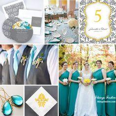 Teal, Yellow & Gray Wedding Color Story   Gray wedding colors, Grey ...