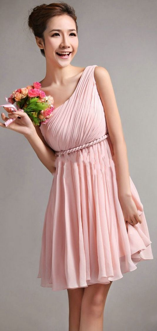 Chiffon Sleeveless A-line Natural One Shoulder Bridesmaid Dresses ...