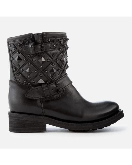 46b364d14101 Biker boots for women Lyst - Ash Trone Leather Studded Biker Boots in Black
