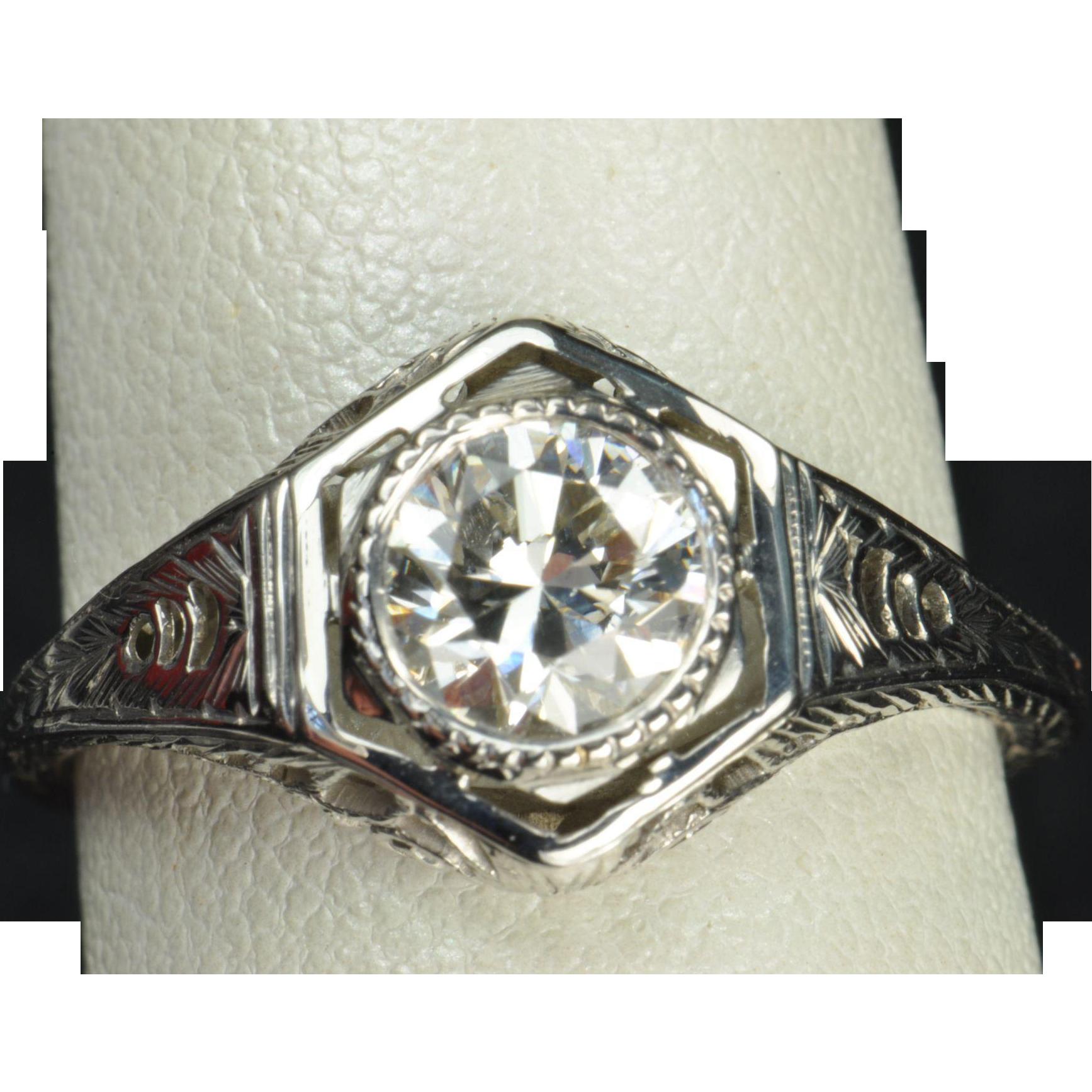 75 Carat Edwardian Style Engagement / Wedding Ring (With