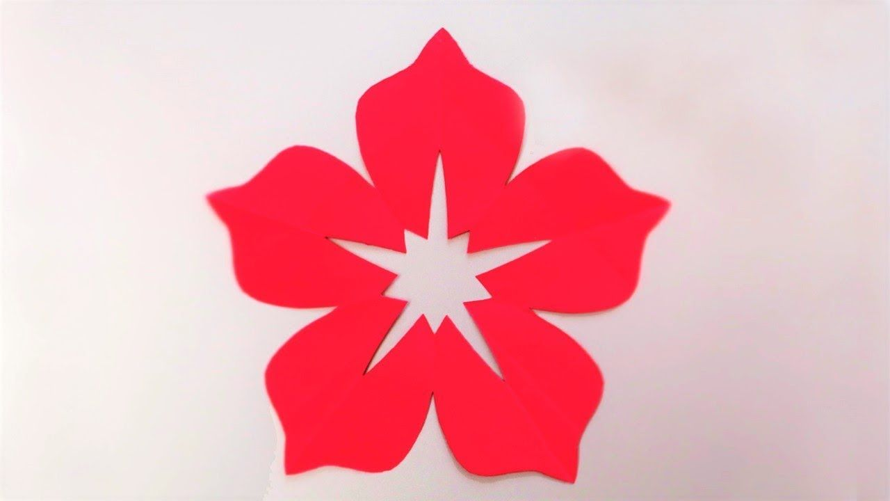 How To Make 5 Petal Hand Cut Paper Flowers Origami Flower Easy