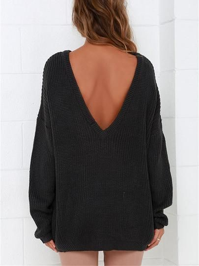 Black Long Sleeve Backless Loose Sweater | Pullover, Shoulder and ...