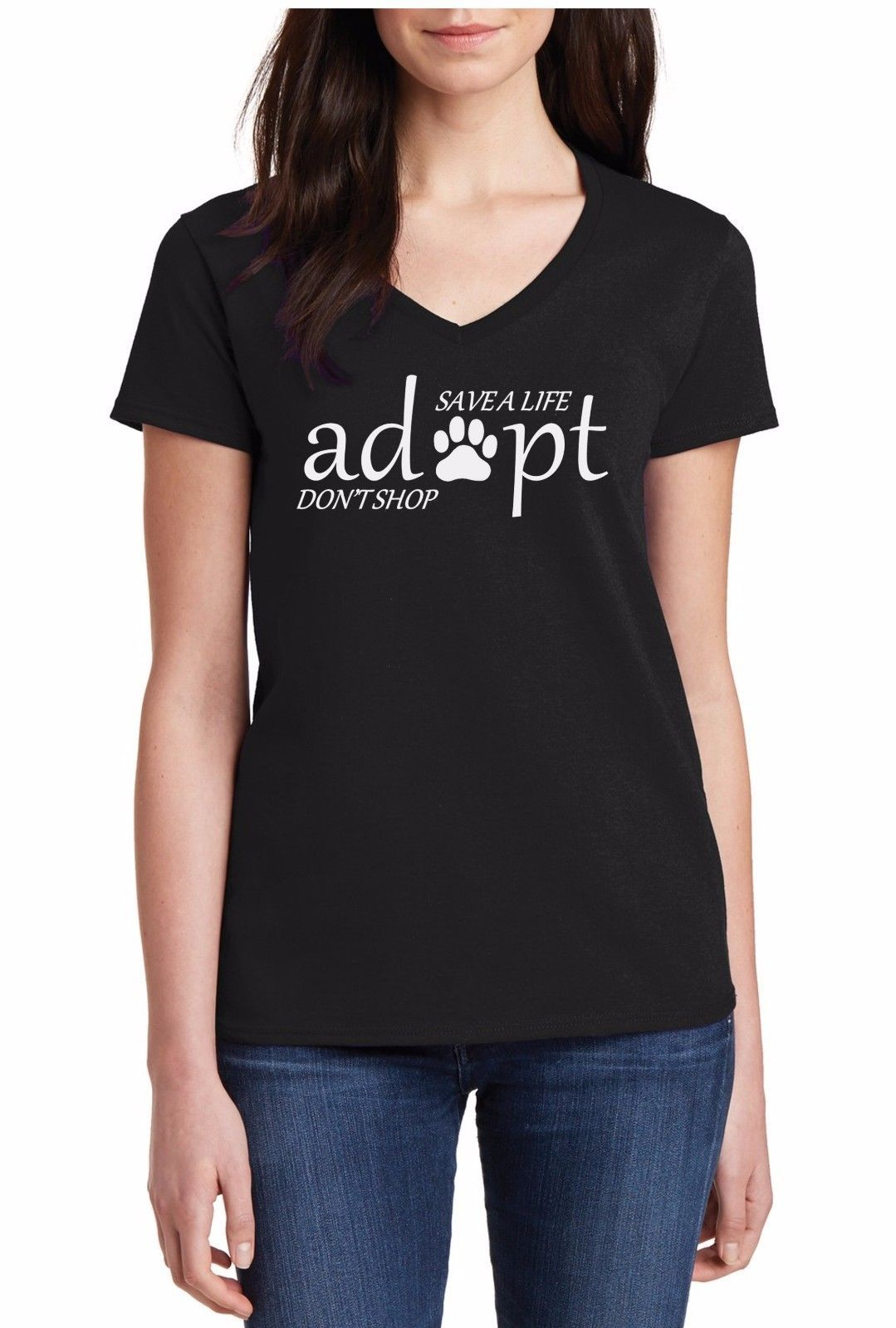Ladies V-neck Adopt Don/'t Shop Shirt Pet Adoption Mothers Day Animal Lover Gift