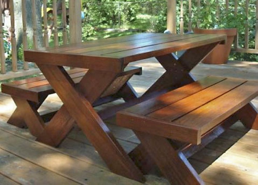Picnic table diy project from ana white outdoor for Ana white table bench