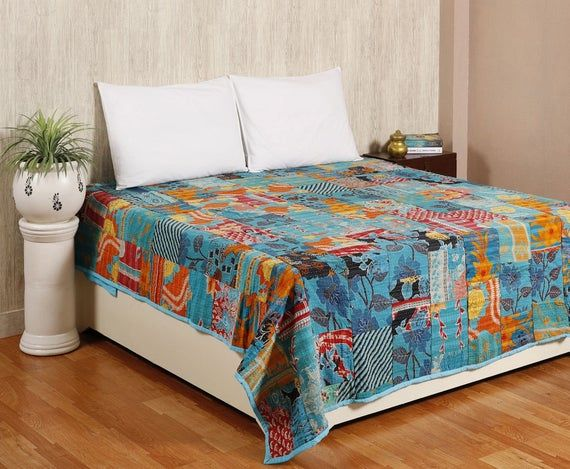 Kantha Patchwork Quilt , kantha Throw Blanket , Vintage Kantha Quilt , Bohemian Bedding , Queen Kant