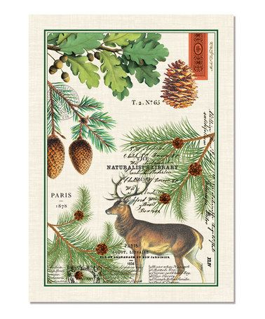 Balsam Fir Rustic Kitchen Towel By Michel Design Works Deer Pinecones