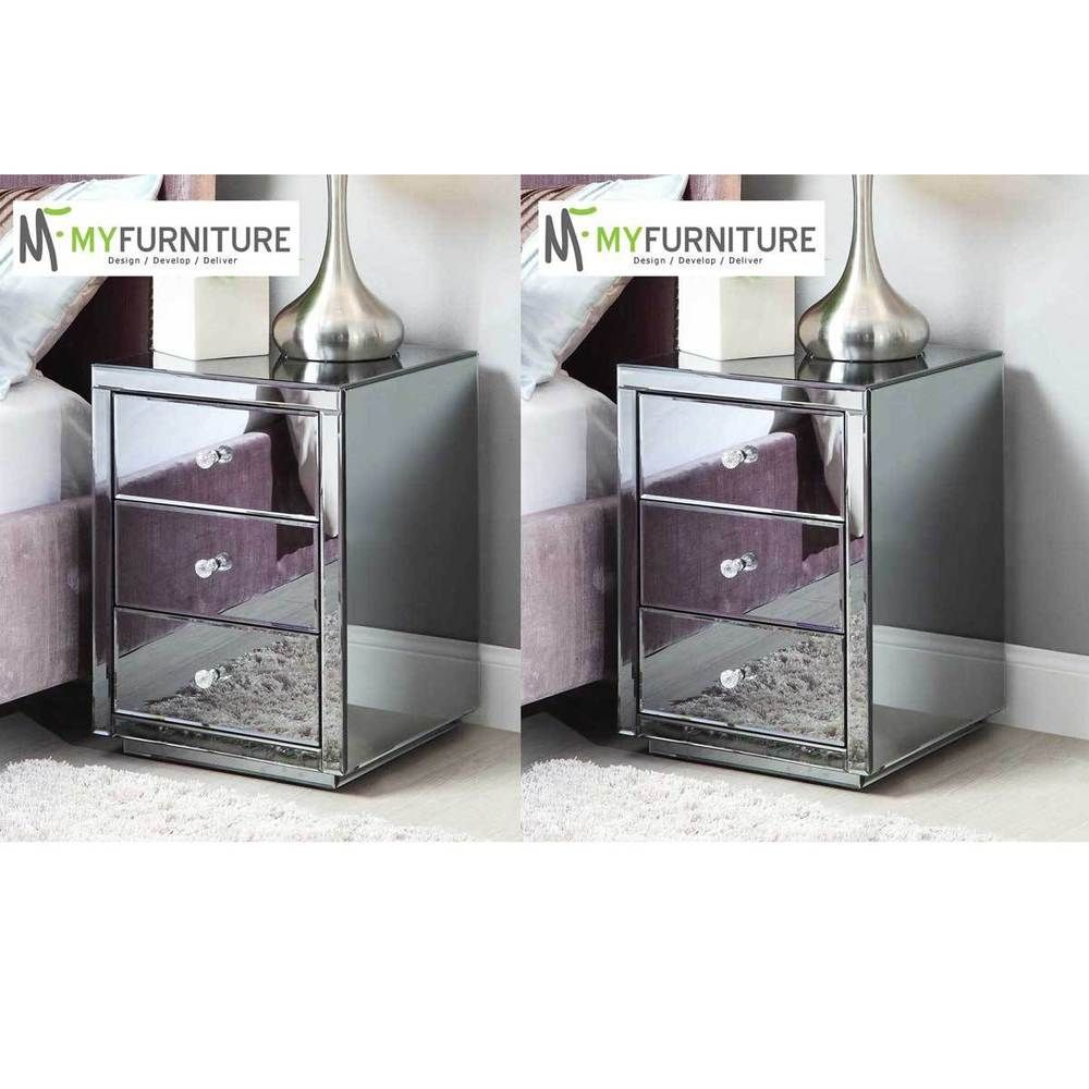 Details About Mirrored Bedside Table Nightstand Vegas Smoke Pair