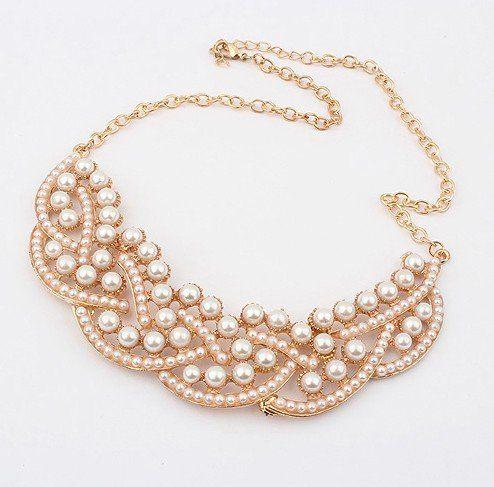 4e7e50dc0edb Europa y américa del temperamento elegante de lujo de la moda la perla  Collar corto SPX0778