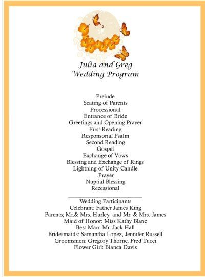 Image detail for - wedding program, butterfly wedding program - invitation wording for candle party