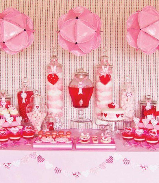 Romantischer Rosa Tisch Zum Valentinstag
