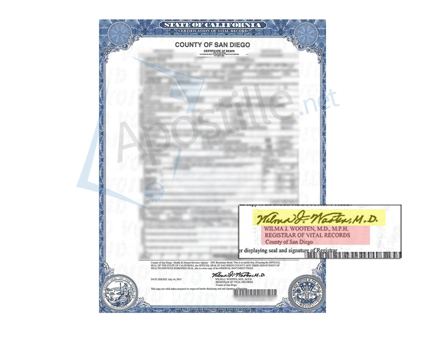 County Of San Diego Certificate Of Death Signed By Wilma J Wooten