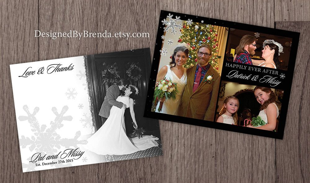 A Thankful Christmas Combined Holiday Card Wedding Thank You Postcard With 3 Photos White Black Gold Sparkly Snowflakes