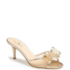 Kate Spade New York Michaela Kitten Heel Sandal Shoes Platino Saffiano 163 98 50 Off Bridal Shoes Kitten Heel Sandals Shoes