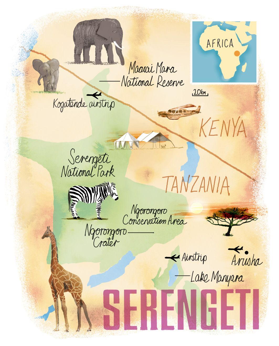 Serengeti Map By Scott Jessop Map Illustrated Map The Great Migration