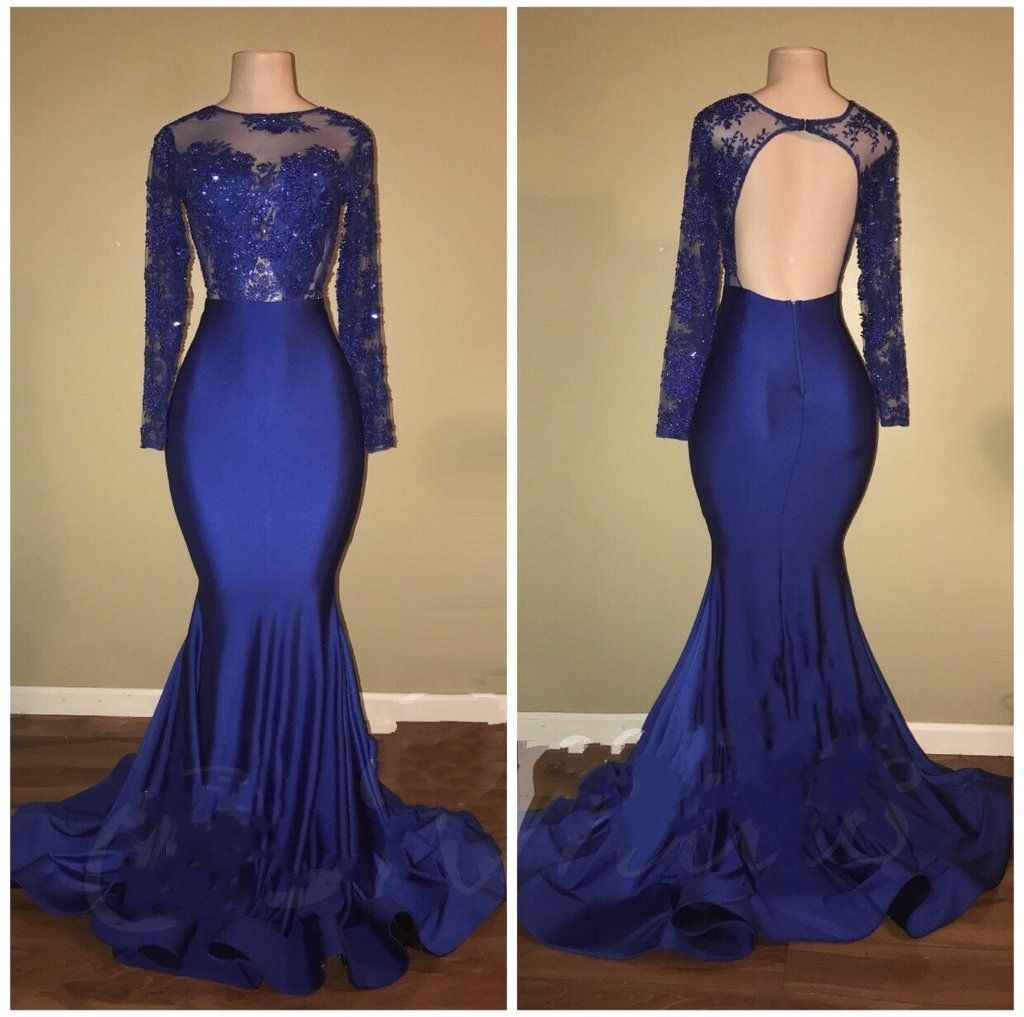 fashion abendkleider lang dunkelblau meerjungfrau