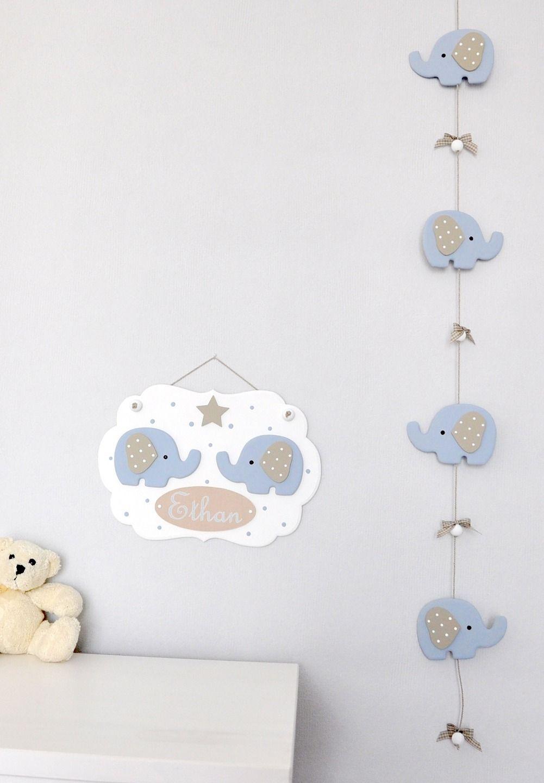 cadre pr nom b b d co l phants bleus en bois et guirlande pour chambre d 39 enfant diy. Black Bedroom Furniture Sets. Home Design Ideas