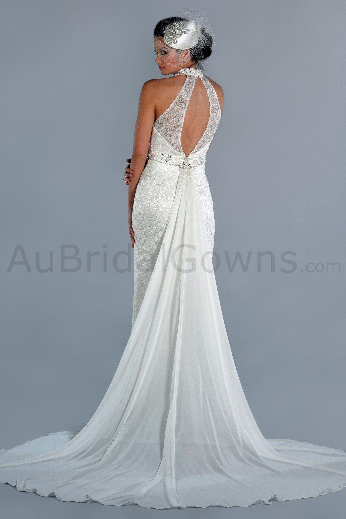 wedding dress halter | ... > Chiffon Halter High-neck keyhole open ...