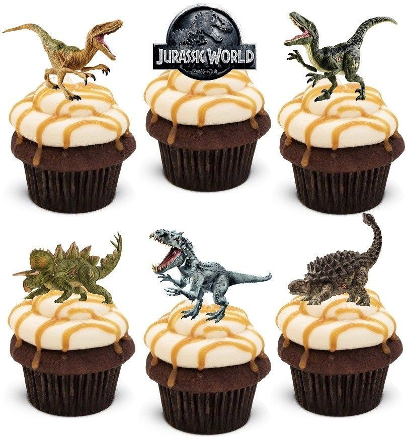 Dinosaurs Jurassic Theme Edible Wafer Cup Cake Toppers Standing or Disc