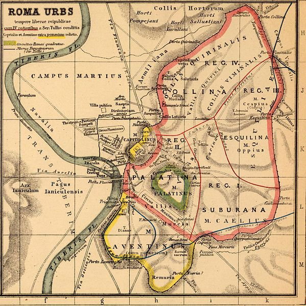 Map of Ancient Rome Servian Walls  Maps of Rome and Vatican