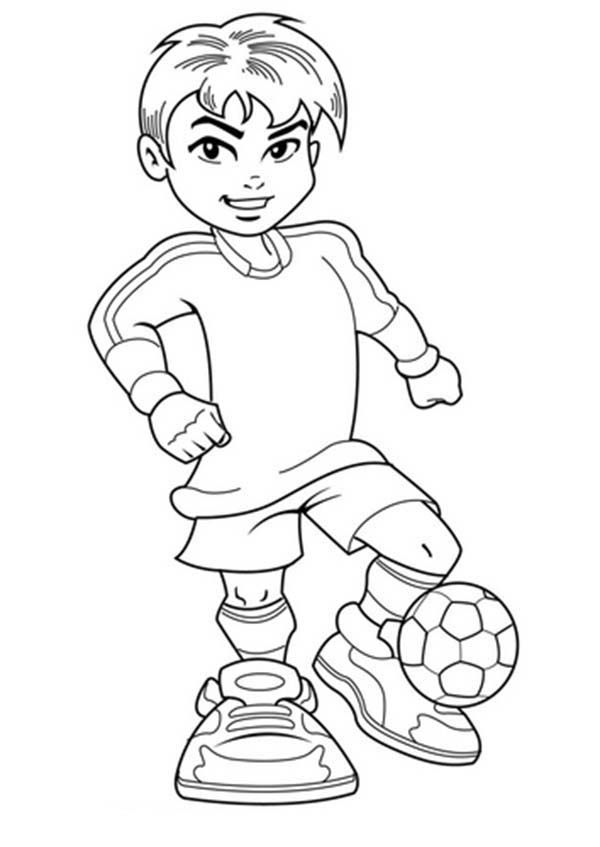 Soccer A Cute Boy On Complete Soccer Jersey Coloring Page