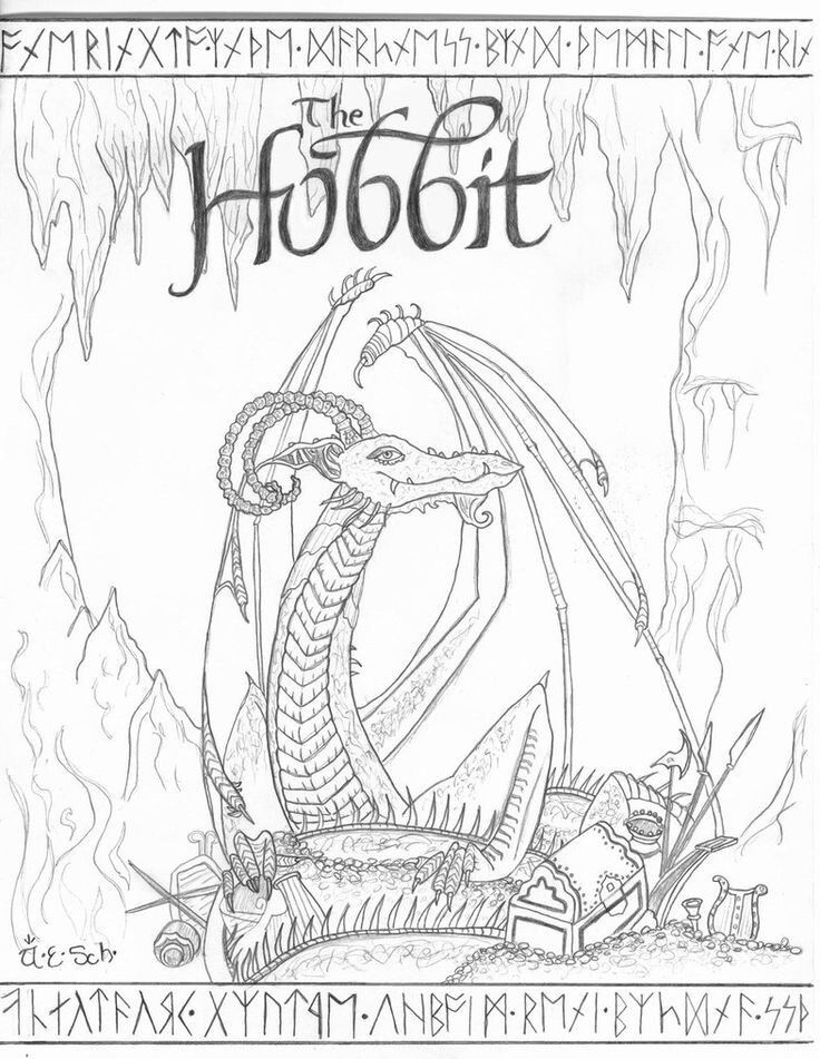 Hobbit Smaug Dragon Coloring Pages The Hobbit Coloring Pages To Print