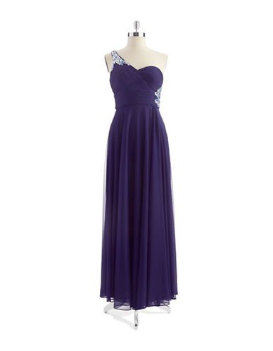 Womens Apparel Formalevening Jeweled One Shoulder Gown Lord